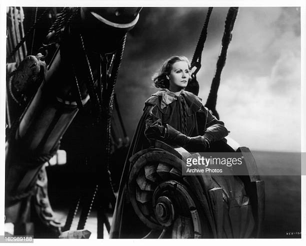 Greta Garbo rides in a ship in a scene from the film 'Queen Christina' 1933