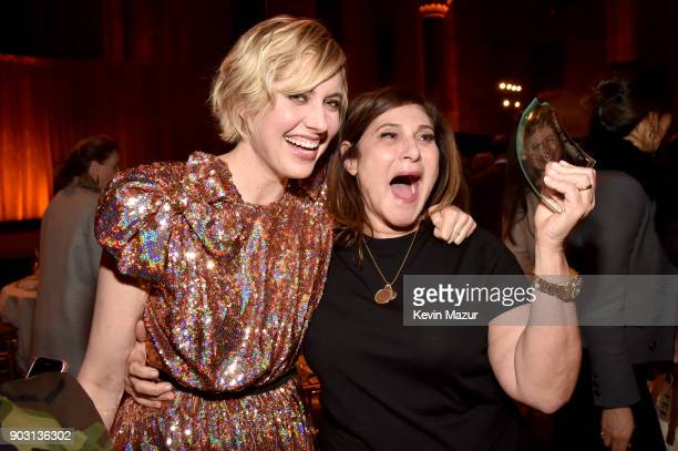 Greta Gerwig and Amy Pascal pose with a broken award during the National Board of Review Annual Awards Gala at Cipriani 42nd Street on January 9 2018...