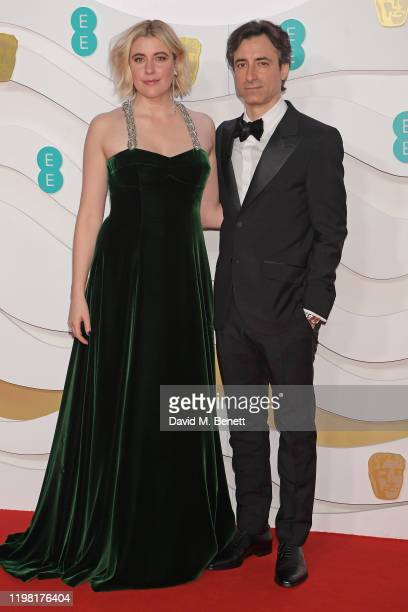 Greta Gerwig and Noah Baumbach arrive at the EE British Academy Film Awards 2020 at Royal Albert Hall on February 2, 2020 in London, England.