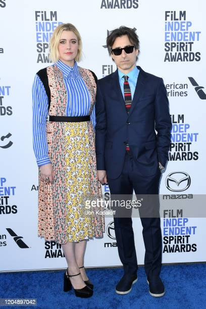 Greta Gerwig and Noah Baumbach attend the 2020 Film Independent Spirit Awards on February 08 2020 in Santa Monica California