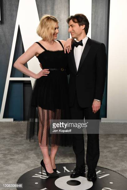 Greta Gerwig and Noah Baumbach attend the 2020 Vanity Fair Oscar Party hosted by Radhika Jones at Wallis Annenberg Center for the Performing Arts on...