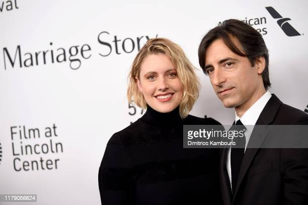 Greta Gerwig and Noah Baumbach attend the Marriage Story premiere at 57th New York Film Festival on October 04 2019 in New York City