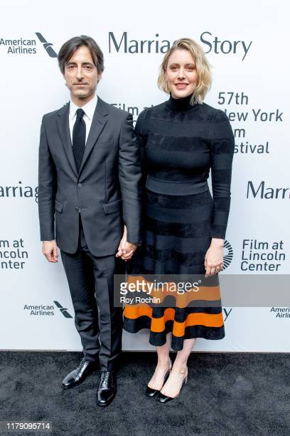 Greta Gerwig and Noah Baumbach attend the Marriage Story premiere at the 57th New York Film Festival on October 04 2019 in New York City