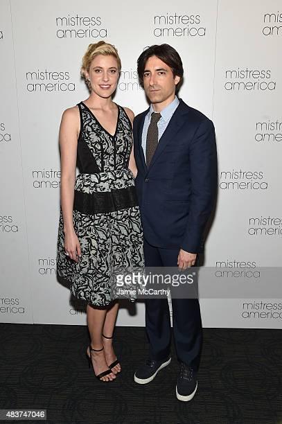 Greta Gerwig and Noah Baumbach attend the Mistress America New York Premiere at Landmark Sunshine Cinema on August 12 2015 in New York City