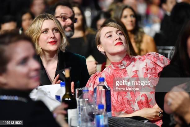 Greta Gerwig and Saoirse Ronan attend the 25th Annual Critics' Choice Awards at Barker Hangar on January 12 2020 in Santa Monica California