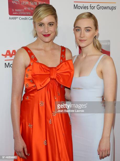 Greta Gerwig and Saoirse Ronan attend the AARP's 17th Annual Movies For Grownups Awards on February 05 2018 in Beverly Hills California