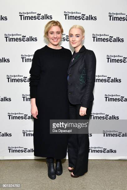Greta Gerwig and Saoirse Ronan attend TimesTalks Presents Greta Gerwig and Saoirse Ronan at Merkin Concert Hall at Kaufman Music Center on January 4...