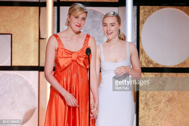 Greta Gerwig and Saoirse Ronan speak onstage at AARP's 17th Annual Movies For Grownups Awards at the Beverly Wilshire Four Seasons Hotel on February...