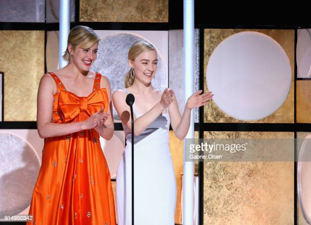 Greta Gerwig and Saoirse Ronan speak onstage during AARP The Magazine's 17th Annual Movies For Grownups Awards at the Beverly Wilshire Four Seasons...