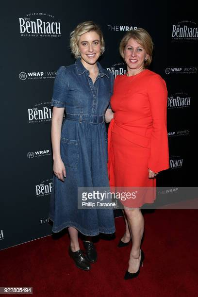 Greta Gerwig and Sharon Waxman attend TheWrap's 2018 Women Whiskey and Wisdom Celebrating Women Oscar Nominees at Teddy's at The Hollywood Rooselvelt...