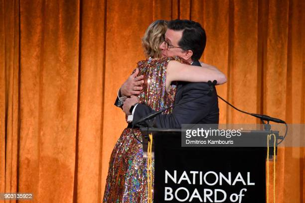 Greta Gerwig and Stephen Colbert embrace onstage during the National Board of Review Annual Awards Gala at Cipriani 42nd Street on January 9 2018 in...