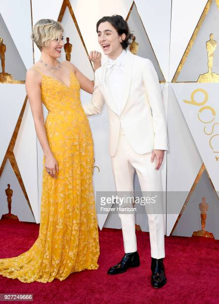 Greta Gerwig and Timothee Chalamet attend the 90th Annual Academy Awards at Hollywood Highland Center on March 4 2018 in Hollywood California