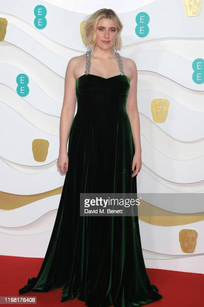 Greta Gerwig arrives at the EE British Academy Film Awards 2020 at Royal Albert Hall on February 2 2020 in London England