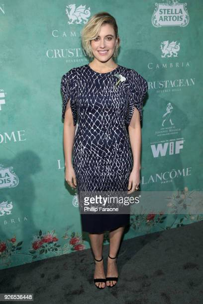 Greta Gerwig attends the 11th annual celebration of the 2018 female Oscar nominees presented by Women in Film at Crustacean on March 2 2018 in...