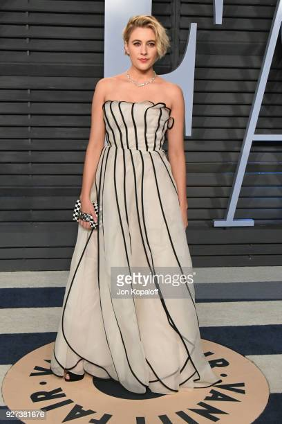 Greta Gerwig attends the 2018 Vanity Fair Oscar Party hosted by Radhika Jones at Wallis Annenberg Center for the Performing Arts on March 4, 2018 in...