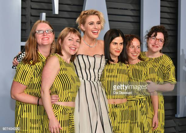 Greta Gerwig attends the 2018 Vanity Fair Oscar Party hosted by Radhika Jones at Wallis Annenberg Center for the Performing Arts on March 4 2018 in...