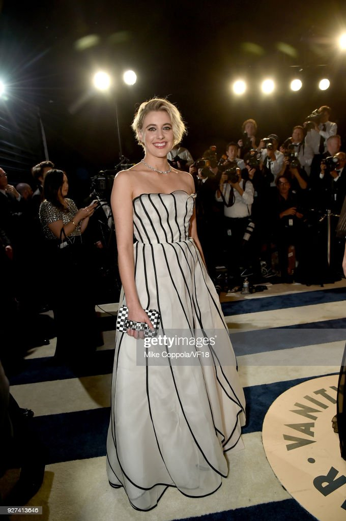 Greta Gerwig attends the 2018 Vanity Fair Oscar Party hosted by Radhika Jones at Wallis Annenberg Center for the Performing Arts on March 4, 2018 in Beverly Hills, California.