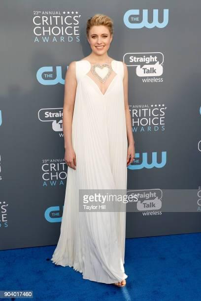 Greta Gerwig attends the 23rd Annual Critics' Choice Awards at Barker Hangar on January 11 2018 in Santa Monica California