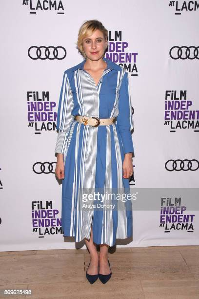 Greta Gerwig attends the Film Independent at LACMA presents 'Lady Bird' screening and QA at Bing Theater At LACMA on November 2 2017 in Los Angeles...