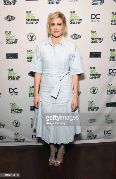 Greta Gerwig attends the Film Independent hosts Directors CloseUp Screening of 'Lady Bird' at Landmark Theatre on February 7 2018 in Los Angeles...