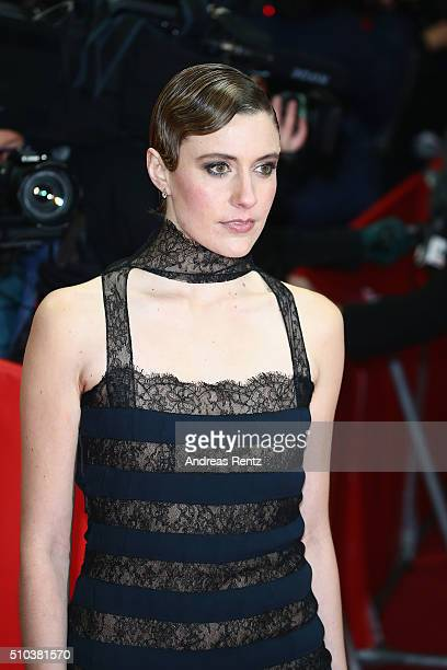 Greta Gerwig attends the 'Maggie's Plan' premiere during the 66th Berlinale International Film Festival Berlin at FriedrichstadtPalast on February 15...