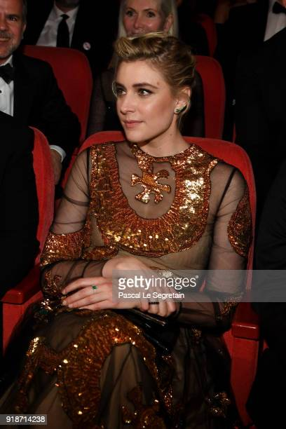 Greta Gerwig attends the Opening Ceremony 'Isle of Dogs' premiere during the 68th Berlinale International Film Festival Berlin at Berlinale Palace on...