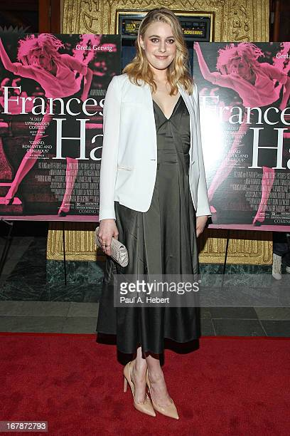 Greta Gerwig attends the screening of IFC Films' Frances Ha at the Vista Theatre on May 1 2013 in Los Angeles California