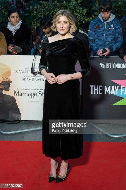Greta Gerwig attends the UK film premiere of 'Marriage Story' at Odeon Luxe Leicester Square during the 63rd BFI London Film Festival May Fair Hotel...