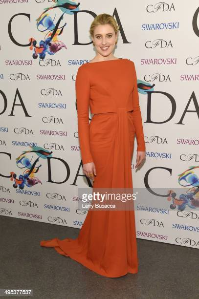 Greta Gerwig attends the winners walk during the 2014 CFDA fashion awards at Alice Tully Hall, Lincoln Center on June 2, 2014 in New York City.