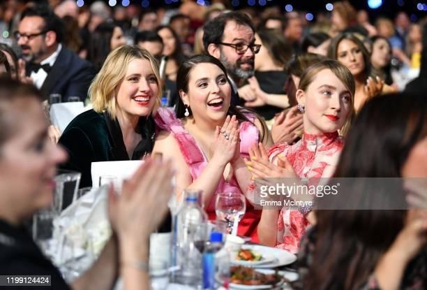Greta Gerwig Beanie Feldstein and Saoirse Ronan attend the 25th Annual Critics' Choice Awards at Barker Hangar on January 12 2020 in Santa Monica...