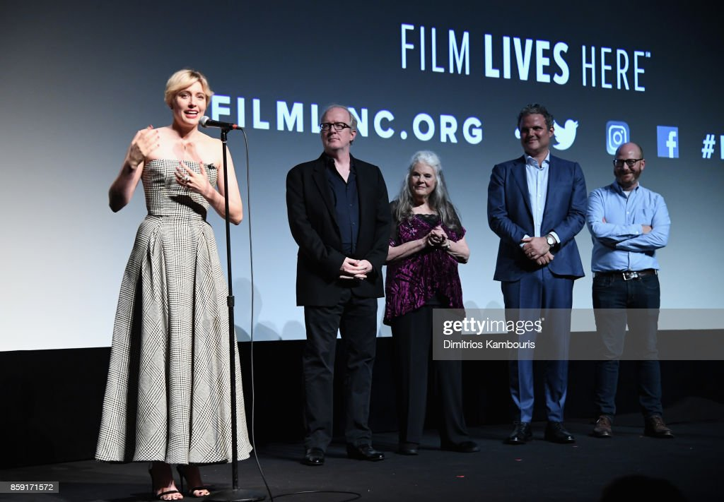 Greta Gerwig, Beanie Feldstein, Tracy Letts, Lois Smith, and Sam Levy onstage during 55th New York Film Festival screening of 'Lady Bird' at Alice Tully Hall on October 8, 2017 in New York City.