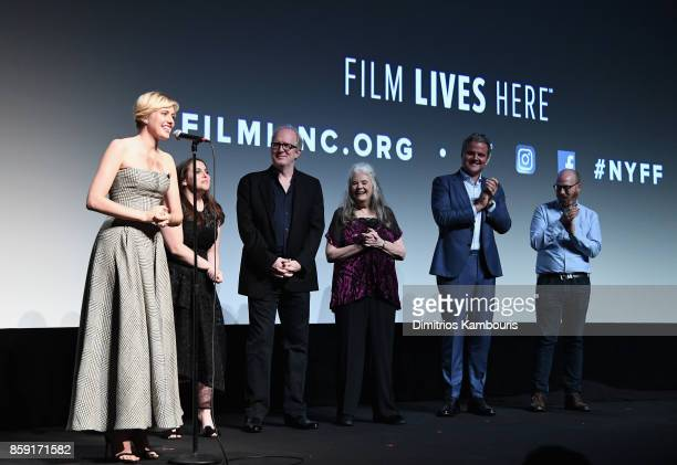 Greta Gerwig Beanie Feldstein Tracy Letts Lois Smith and Sam Levy onstage during 55th New York Film Festival screening of 'Lady Bird' at Alice Tully...