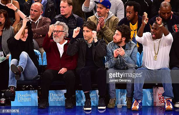 Greta Gerwig, Dustin Hoffman, Noah Baumbach, Jake Hoffman and Tracy Morgan attend the Miami Heat vs New York Knicks game at Madison Square Garden on...