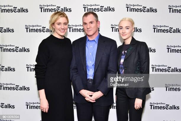 Greta Gerwig Frank Bruni and Saoirse Ronan attend TimesTalks Presents Greta Gerwig and Saoirse Ronan at Merkin Concert Hall at Kaufman Music Center...