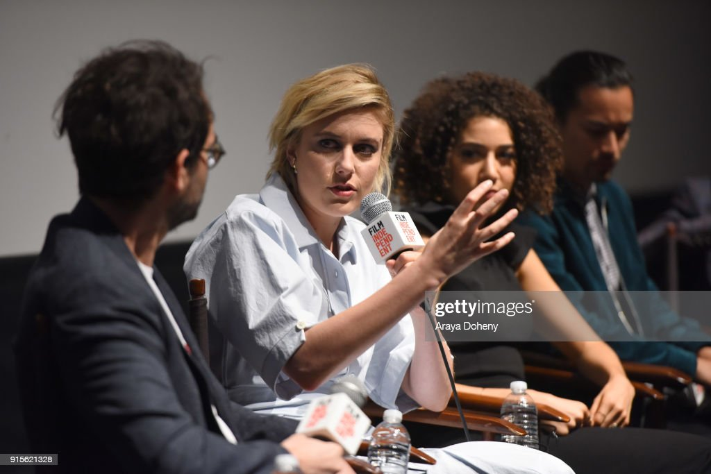 Greta Gerwig, Marielle Scott and Jordan Rodrigues attend the Film Independent Hosts Directors Close-Up Screening Of 'Lady Bird' at Landmark Theatre on February 7, 2018 in Los Angeles, California.