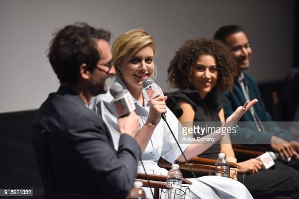Greta Gerwig Marielle Scott and Jordan Rodrigues attend the Film Independent Hosts Directors CloseUp Screening Of 'Lady Bird' at Landmark Theatre on...