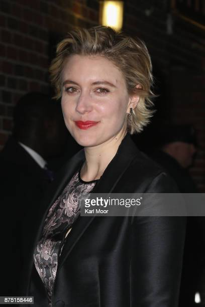 Greta Gerwig poses for pictures before her appearance on 'The Late Show With Stephen Colbert' at Ed Sullivan Theater on November 16 2017 in New York...