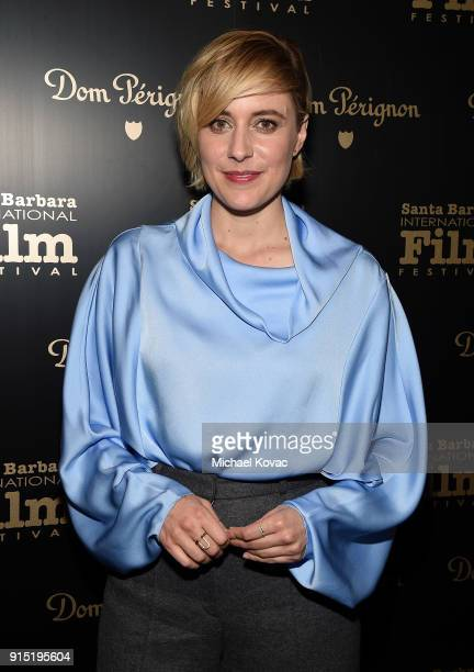 Greta Gerwig visits the Dom Perignon Lounge before receiving the Outstanding Directors Award at The Santa Barbara International Film Festival on...