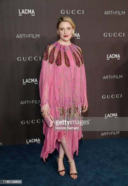 Greta Gerwig wearing Gucci attends the 2019 LACMA Art Film Gala Presented By Gucci at LACMA on November 02 2019 in Los Angeles California