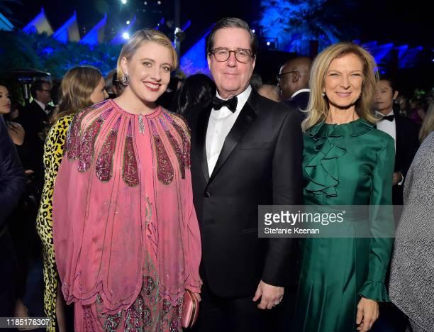 Greta Gerwig wearing Gucci David Rubin and AMPAS CEO Dawn Hudson attend the 2019 LACMA Art Film Gala Presented By Gucci at LACMA on November 02 2019...