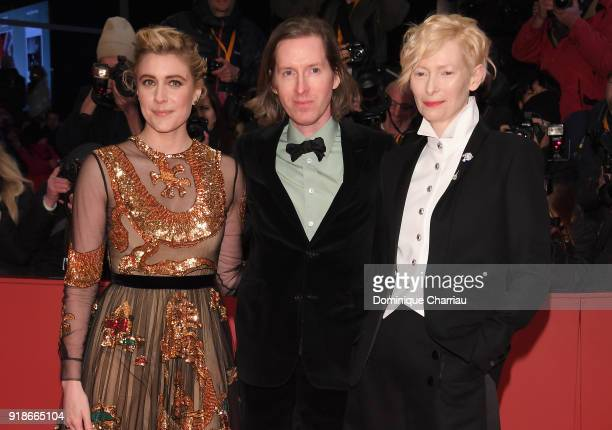 Greta Gerwig Wes Anderson and Tilda Swinton attend the Opening Ceremony 'Isle of Dogs' premiere during the 68th Berlinale International Film Festival...