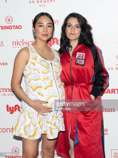 Greta Lee and Abbi Jacobson attend the Opening Ceremony Lunar New Year 2019 celebration during New York Fashion Week on February 10 2019 in New York...