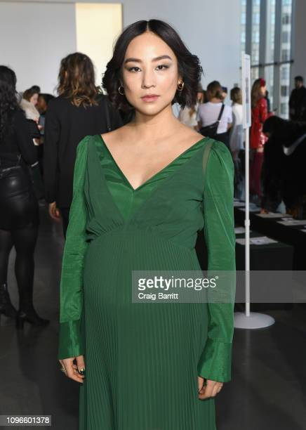 Greta Lee attends the Self-Portrait front row during New York Fashion Week: The Shows at Spring Studios on February 9, 2019 in New York City.