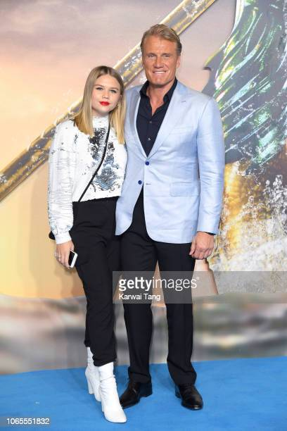 Greta Lundgren and Dolph Lundgren attend the World Premiere of Aquaman at Cineworld Leicester Square on November 26 2018 in London England