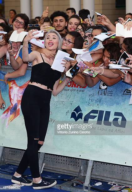 Greta Menchi attends the Giffoni Film Festival 2015 blue carpet on July 22 2015 in Giffoni Valle Piana Italy