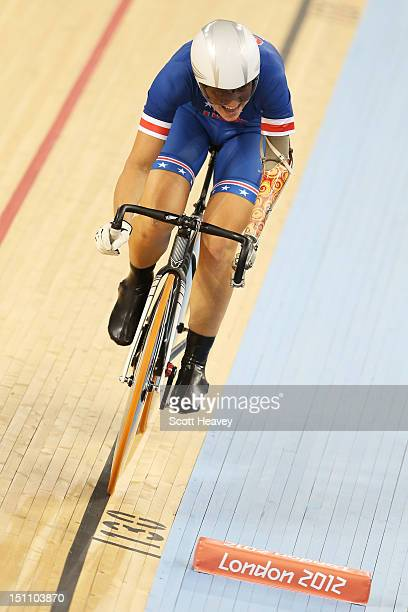 Greta Neimanas of the United States competes in the Women's Individual C45 500m Time Trial Final on day 3 of the London 2012 Paralympic Games at...