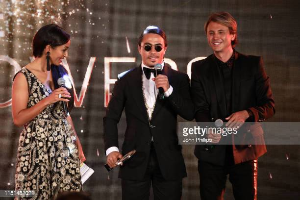 Greta Sapkaite, Nusret Gökçe and Jonathan Cheban attend theInaugural 'World Bloggers Awards' during the 72nd annual Cannes Film Festival on May 24,...