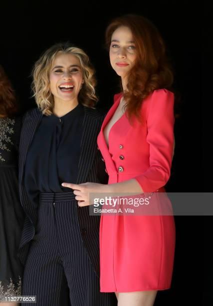 Greta Scarano and Antonia Fotaras attends the photocall for Il Nome Della Rosa at Rai Viale Mazzini on February 28 2019 in Rome Italy