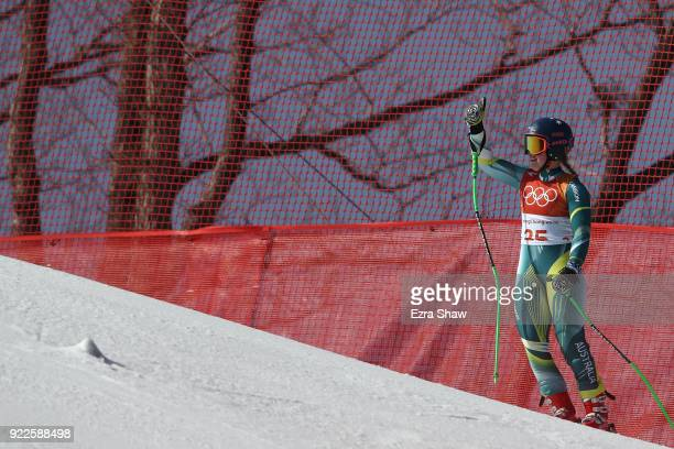 Greta Small of Australia crashes during the Ladies' Alpine Combined on day thirteen of the PyeongChang 2018 Winter Olympic Games at Yongpyong Alpine...