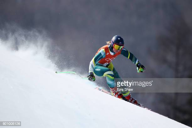 Greta Small of Australia makes a run during the Ladies' Downhill Alpine Skiing training on day eleven of the PyeongChang 2018 Winter Olympic Games at...